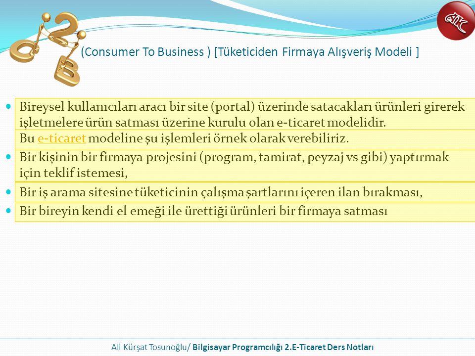 (Consumer To Business ) [Tüketiciden Firmaya Alışveriş Modeli ]